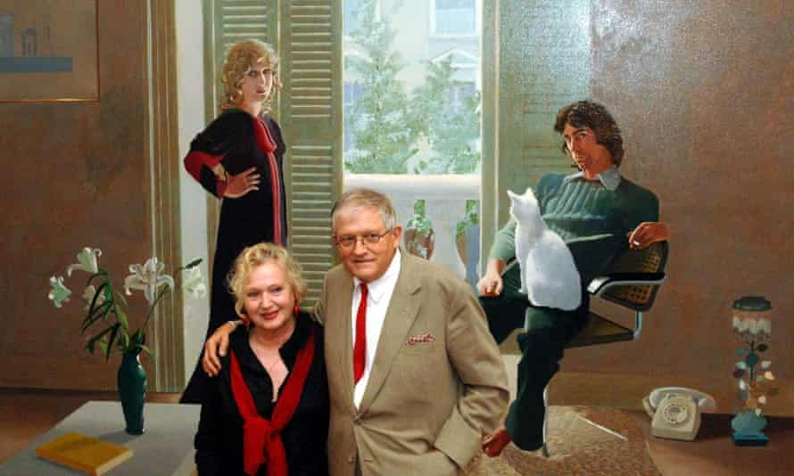 David Hockney stands with Celia Birtwell in front of his 1971 painting of her, Mr and Mrs Clark and Percy.