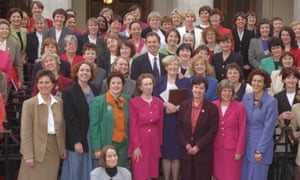 Tony Blair with female MPs, 1997.