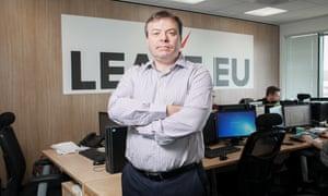 Arron Banks in his Leave.EU call centre in Bristol