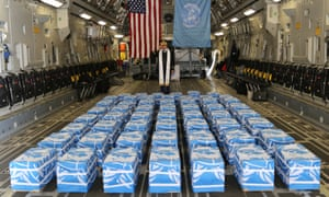 The 55 cases of remains returned by North Korea at Osan air base on 27 July.