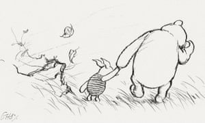 Winnie the Pooh and Piglet, original illustrations by EH Shepard