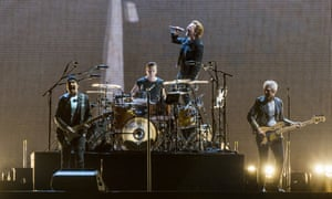 U2 in concert in New Orleans, 14 September. The band's St Louis show on 16 September has been cancelled due to protests in the city.