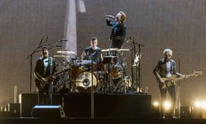 U2 in concert in New Orleans, Louisiana, 14 September 2017.
