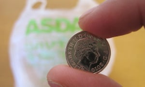 England's 5p plastic bag charge