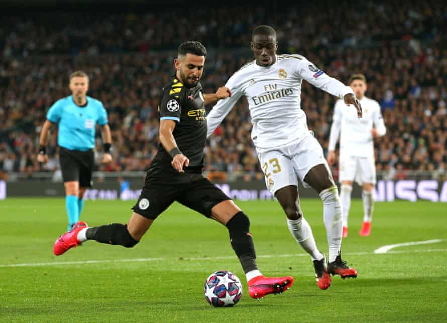 Manchester City's Riyad Mahrez in action against Real Madrid in the Champions League. 'There are too many people commenting on different topics that they do not have a clue about,' Ceferin says of City's ban from European competition.