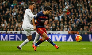 Luis Suarez scores his second, and Barcelona's fourth.