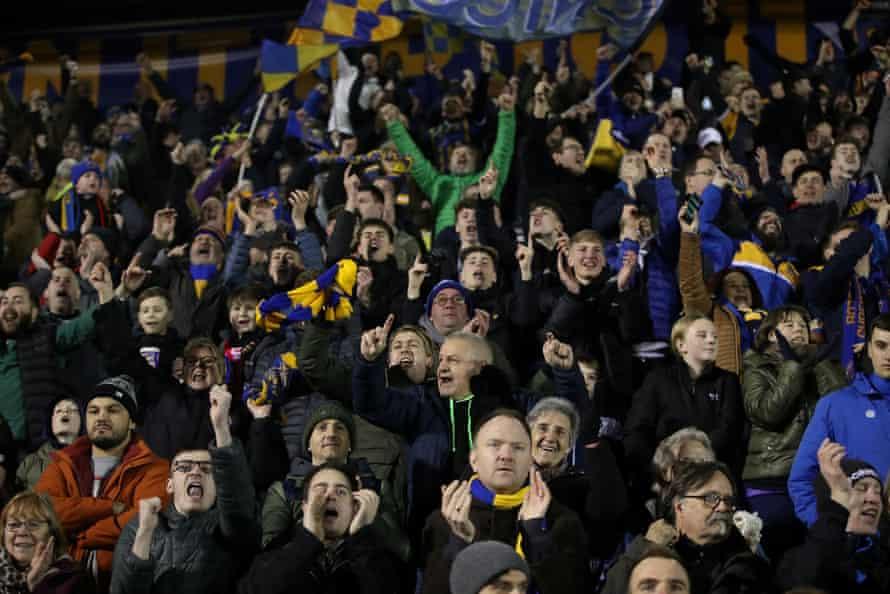 Shrewsbury Town fans celebrate their equaliser