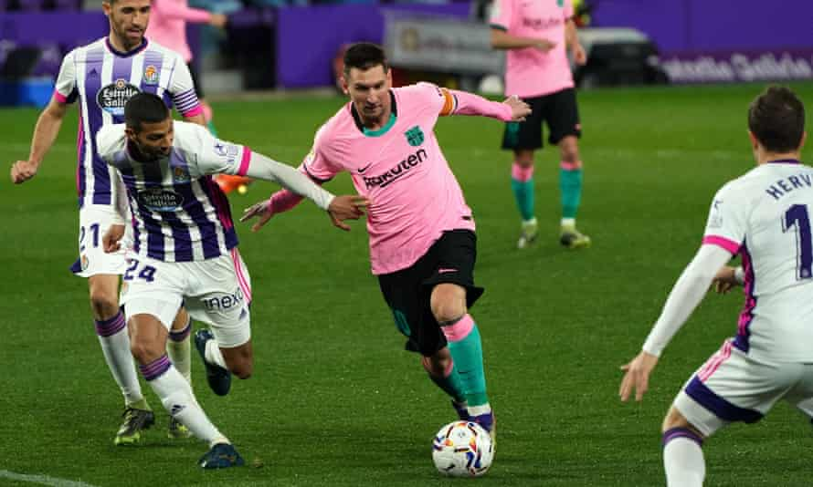 Lionel Messi made it 3-0 against Real Valladolid and had a hand in all three of Barcelona's goals.