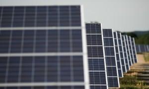 Solar panels on a solar farm