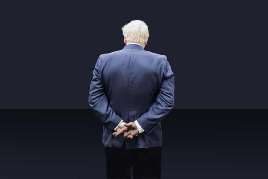Boris Johnson, imagined with this fingers crossed behind his back