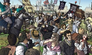 A panel from Peterloo: Witness to a Massacre by Robert Poole and Eva Schlunke.