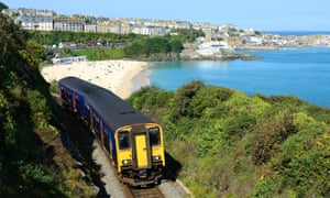 A train leaving St Ives in Cornwall