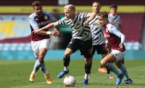 Donny van de Beek surges forward during Manchester United's pre-season friendly against Aston Villa in September