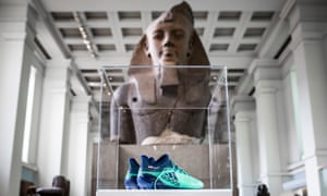Mohamed Salah's Adidas X17 Deadly Strike boots are pictured in front from the museum's statue of Ramesses II.