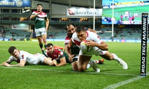 Ryan Hall dives over to score a try for England against Lebanon.