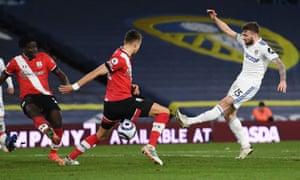 Stuart Dallas of Leeds United scores his side's second goal.
