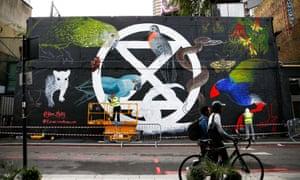 Mural of Extinction Rebellion logo