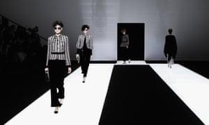 Models on the Giorgio Armani autumn/winter 2016 catwalk.