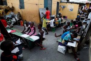Children attend an evening class in Jamestown.