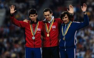 Sebastian Coe, Steve Ovett and Nikolay Kirov, the 800m silver, gold and bronze medal winners at the 1980 Olympics.