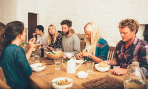 Tuck in: communal dining. Food is natural and almost all raw, but unexpectedly moreish