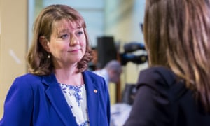 Leanne Wood at the Cardiff referendum count.