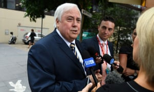 Clive Palmer outside the federal court in Brisbane last month, when he was asked questions about the collapse of Queensland Nickel.
