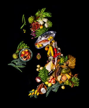 Map of the United Kingdom made from European imported food. Jay Rayner investigates what effect Brexit will have to our food supply.