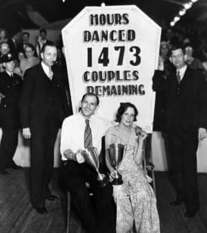 Frank Miller, 56, and Ruth Smith 22, win a dance marathon in Atlantic City in the 1930s. They danced for more than 61 days.