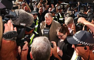 Cardinal George Pell arrives at court for his sentencing hearing on Wednesday morning