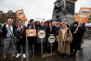 Butler (fourth left) on the March4Women in London in March 2018, alongside celebrities, activists and other politicians, including the mayor of London, Sadiq Khan (fifth left)