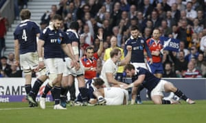 Joe Launchbury celebrates as Billy Vunipola drives over to score a try on his return to the England side.