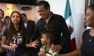Alondra Luna Nunez, left, after a press conference with her parents Gustavo Luna and Susana Nunez following her return to Mexico.