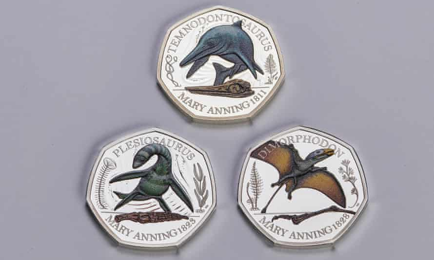 Plesiosaurus, temnodontosaurus and dimorphodon coins being issued to celebrate the palaeontologist Mary Anning