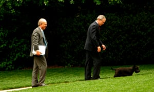 Karl Rove, George W Bush and first dog Barney