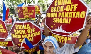 Filipino protesters in Manila stage a rally demanding China pull out of the contested Scarborough Shoal in the South China Sea
