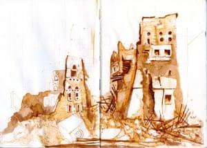 Sketch of Sa'ada, Yemen, 2016 by Ghaith Abdul-Ahad