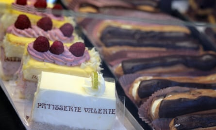 A selection of cream cakes at a Patisserie Valerie shop