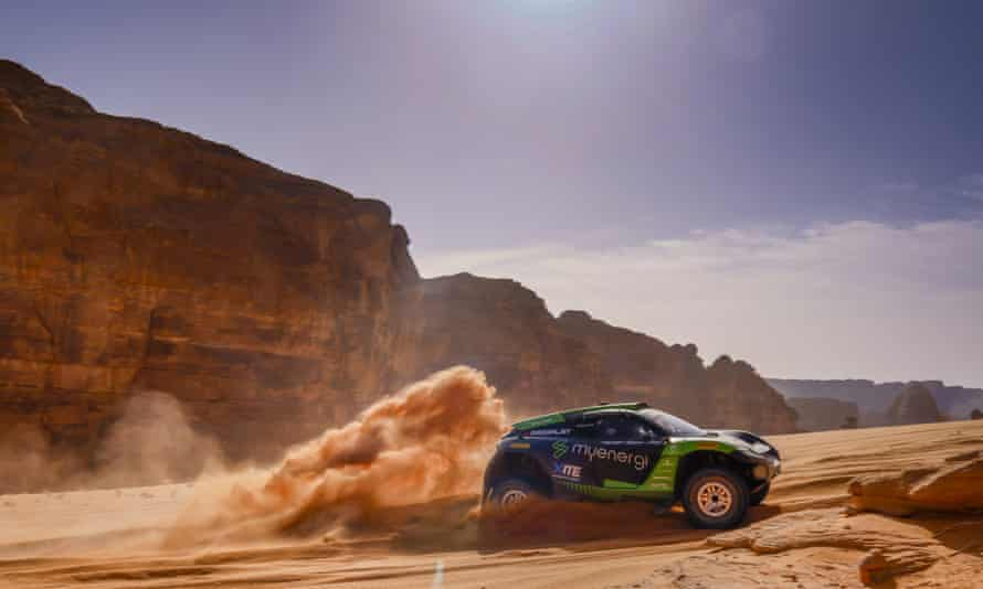 Christine Giampaoli Zonca and Oliver Bennett compete for the Hispano Suiza Xite Energy Team during the 2021 Extreme E Desert X Prix in Saudi Arabia