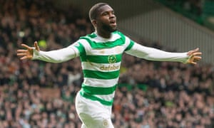 Odsonne Edouard celebrates scoring his side's first goal against Motherwell at Parkhead – he scored two more as Celtic comprehensively won their third game against Motherwell in a week.