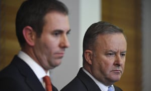 Australian Opposition Leader Anthony Albanese (R) and Shadow Treasurer Jim Chalmers at Parliament House in Canberra, 4 July 2019.