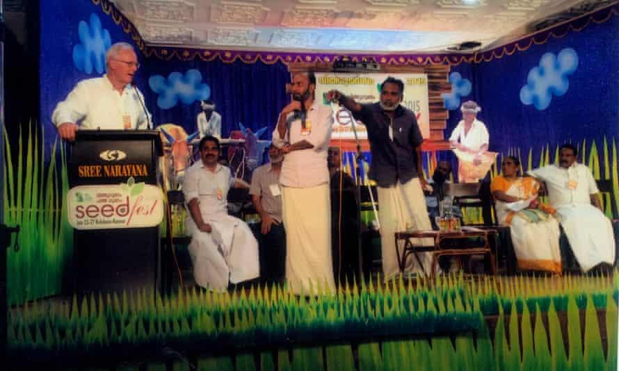 Robin Murray speaking at the Fair Trade Alliance Kerala seed festival, 2015