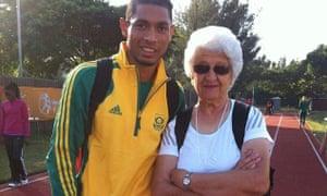 South African sprinter Wayde van Niekerk with his coach, Ans Botha