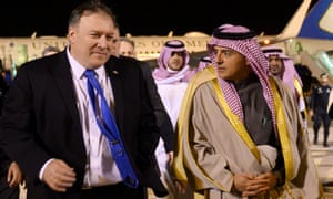 Mike Pompeo with Saudi officials in Riyadh