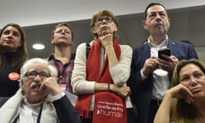 French Socialist party members react to the results.