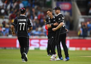 Boult celebrates after taking the wicket of Jadeja for 76.
