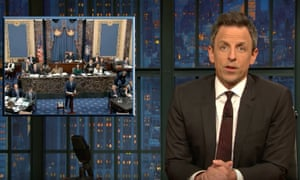 """Seth Meyers on the senator's short attention spans at Trump's impeachment trial: """"I love how the hardest thing to ask a senator to do is just shut the fuck up for one lousy day. You know who else is used to talking and moving and has difficulty listening for long periods of time? Children. We talk about senators the way Pre-K teachers talk about story time."""""""