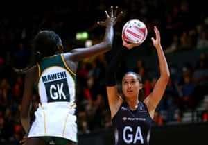Maria Tutaia of New Zealand shoots past South Africa's Phumza Maweni during the recent Quad Series game in London.