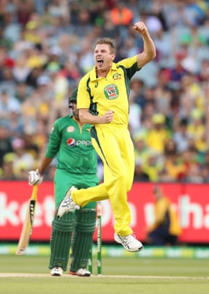 James Faulkner celebrates after dismissing Sharjeel Khan during game two of the One Day International series between Australia and Pakistan at the MCG.