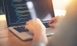 Development web, developer.Woman hands coding html and programming on screen laptop, development web, developer.